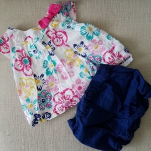 Floral Shirt and Navy Bloomers Set size 12 months